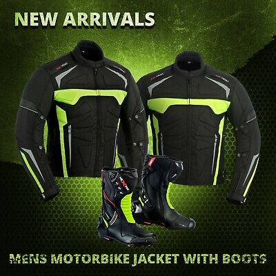 Motorbike Cordura Jacket Waterproof Armored Motorcycle Leather Boot Racing Shoes