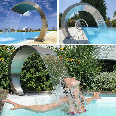 Waterfall Fountain Water Feature Stainless Steel Cascade Swimming Pool Modern
