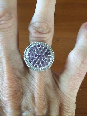 Genuine Sterling Silver 925 Large Womens Amethyst Round Cocktail Ring - Size 7.5