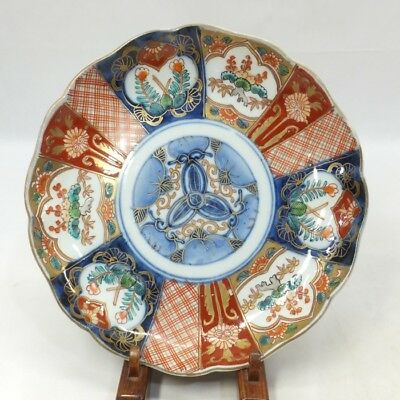 B933: Japanese OLD IMARI colored porcelain ware plate with beautiful painting