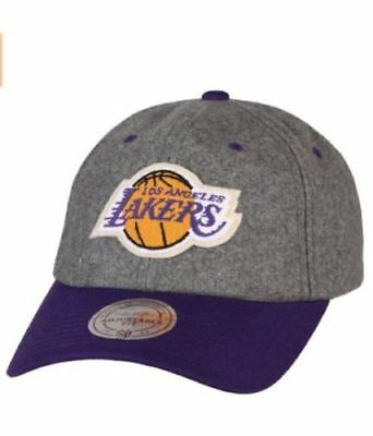 buy popular 702a4 a41f4 Mitchell   Ness Los Angeles Lakers LA Slouch Dad Hat Cap NBA Heather Gray  Purple