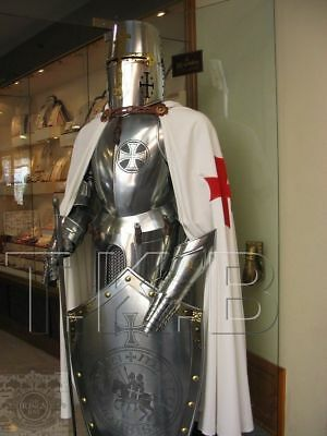 Medieval-Knight-Suit-of-Templar-Armor And Wooden Base And Shield