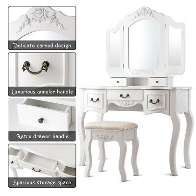 White Vanity Set Makeup Dressing Table 5 Drawer Jewelry Wood Desk Mirror + Stool