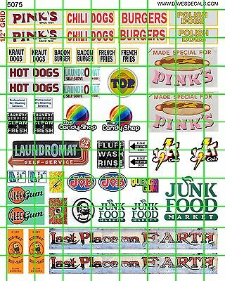 5075 Dave's Decals Pinks Hot Chili Dogs Head Shop Junk Foods Laundromat Jolt
