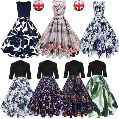 Vintage Women Retro Print Rockabilly Ball Gown Housewife Pin Up Prom Dress 8-20