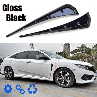 1 Pair Black Type R Side Fender Vent Air Wing Cover Trim For Honda Civic 2016-18