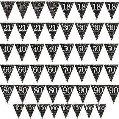 4m Black Gold Flag Bunting Birthday Party Decorations Pennant Banner Foil