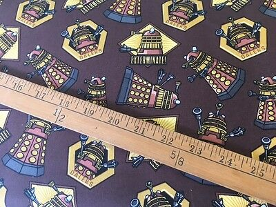 Doctor Who cotton Fabric FQ quilting Daleks Exterminate CP57136 Dr Who