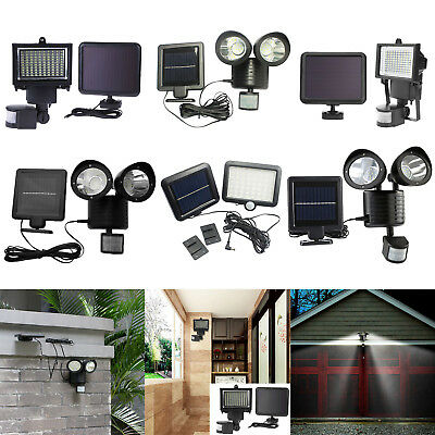 100 LED Bright Solar Powered PIR Sensor Flood Security Light Outdoor Garden Lamp