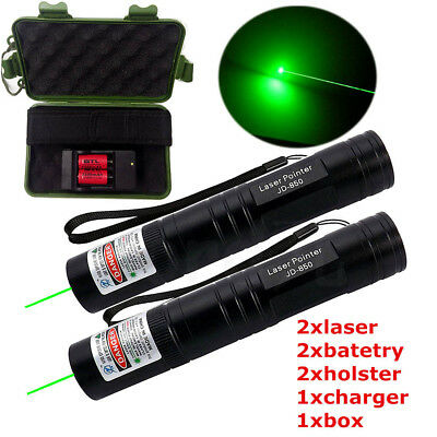 20 Miles Green 5mW Laser Pointer Lazer Pen Beam+16340 battery Charger+Holster