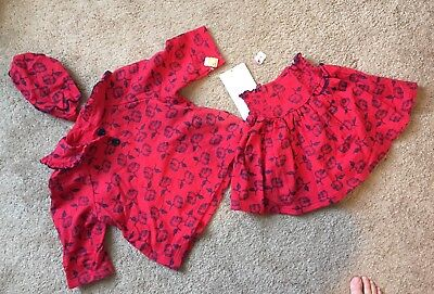 NWT VINTAGE Toddler Girl Mousefeathers 3 piece skirt set shirt hat red floral  4