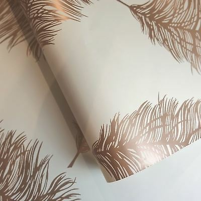 Fawning Feather Wallpaper Rolls Copper / Cream - Holden Decor 12627 Metallic