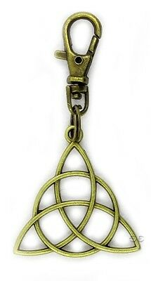 Celtic Irish Triquetra Trinity Knot Bronze Pendant Key Chain Accessory w Clasp
