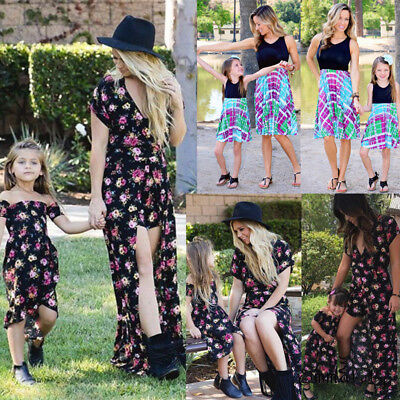 AU Mother and Daughter Matching Floral Women Girl Long Dresses Family Dress