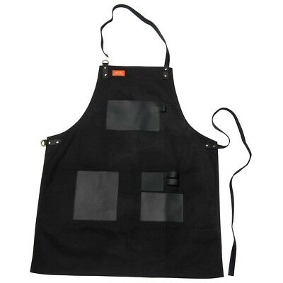 Apron Black Canvas Leather Home Grilling Heavy Duty Pockets Loops Outdoor Garden