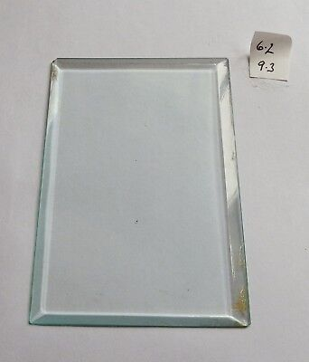 Bevelled glass panel for carriage clock or similar 6.2 cms x 9.3 cms
