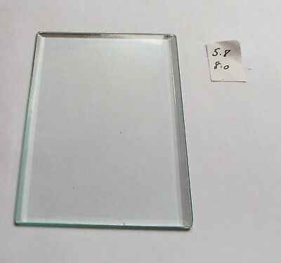 Bevelled glass panel for carriage clock or similar 5.8 cms x 8.0 cms