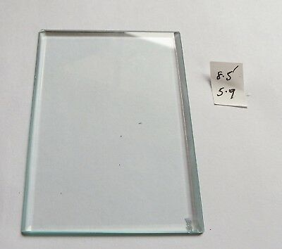 Bevelled glass panel for carriage clock or similar 5.9 cms x 8.5 cms