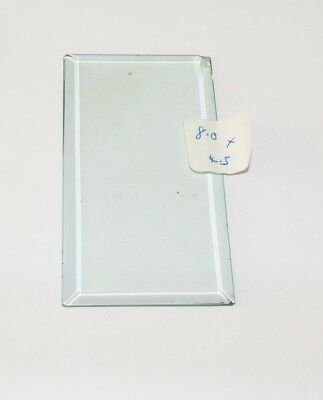 Bevelled glass panel for carriage clock or similar 4.5 cms x 8.1 cms