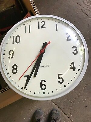 "VINTAGE National Time 12"" Industrial Electric School Clock Metal & Glass"