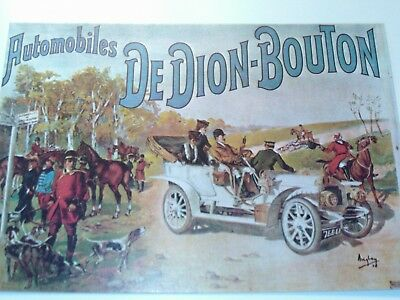 Antique French Car Poster Reproduced on this vintage 1980s postcard Dion Bouton