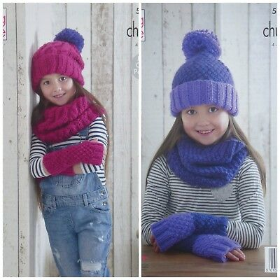KNITTING PATTERN Girls Easy Knit Snood, Cowl Mitts and Hat Chunky KC 5167