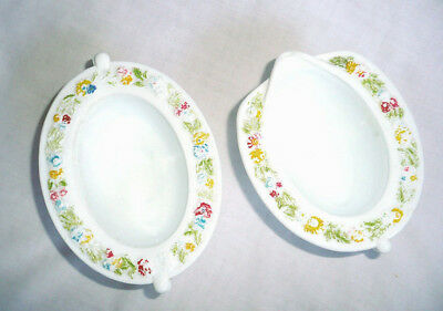 Vintage Creamer and Sugar Bowl 1970s Floral White Porcelain Shabby Chic Cottage