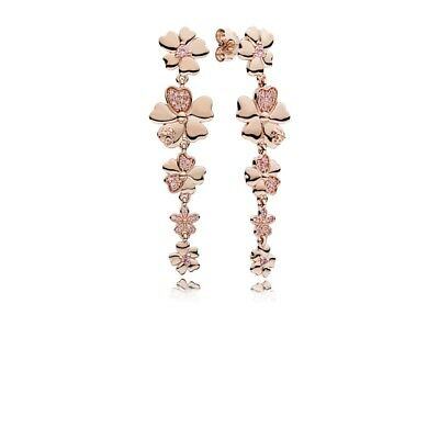 Authentic PANDORA Rose Gold Wildflower Pink Crystal Earring 287114NPR