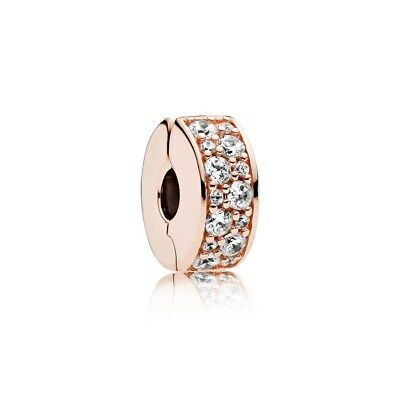 Authentic Pandora Rose Gold Shining Elegance Clip Clear CZ Charm 781817CZ