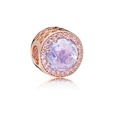 Authentic Pandora Rose Gold Lavender Radiant Heart Charm Bead 781725LCZ