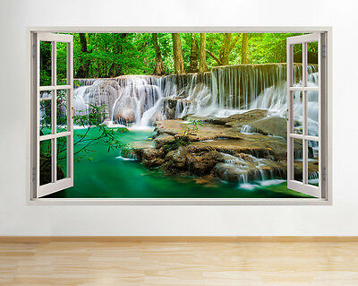 Wall Stickers Waterfall Lake Trees Nature Flowers Decal Poster 3D Art Vinyl A171