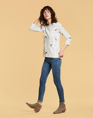 Joules Harbour Print Jersey Top Shirt in Cream Stripe Dogs