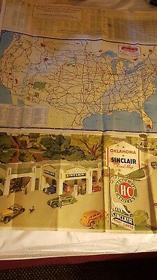 Sinclair Oklahoma Road Map 1936 - Great Art Work on Cover