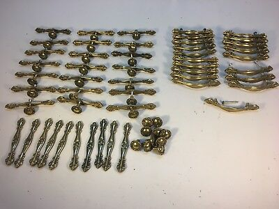 50 Piece Set Vintage Brass Cabinet Door Drawer Handles Pulls Hardware Knobs