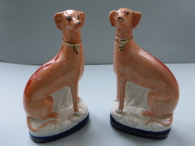 Large Pair 19Thc. Staffordshire Seated Greyhounds On Blue Bases C.1860
