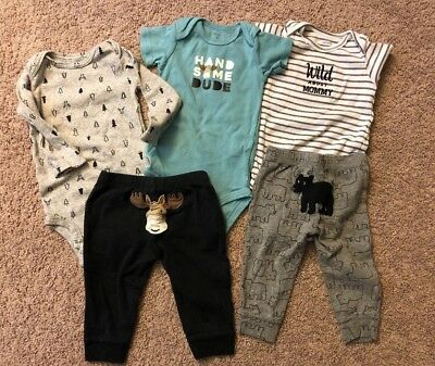 Lot Of 5 Baby Boy Clothes 9 Months Moose Bear Bodysuits Pants Carter's