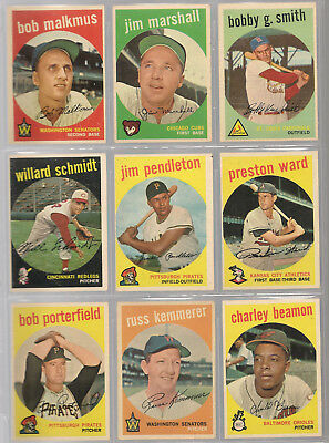 1959 Topps Baseball Cards, Ex  Commons,, 3 Card Lots