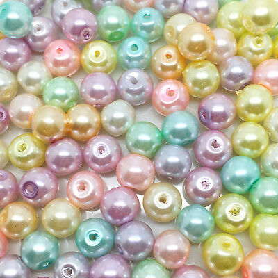 8mm Glass faux Pearls - Pastel Mix (100 beads), round pearl beads, Summer Shades