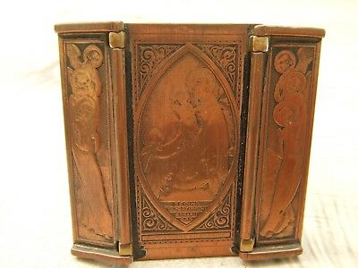 Beautiful Antique Engraved Copper And Brass Portable Icon Triptych