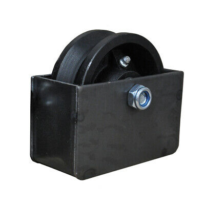 """4"""" V Groove Sliding Gate Roller Wheel Axle with Mounting Box"""