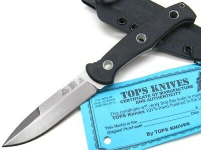 Tops Black Al Mar Mini Sere Operator Plain Edge Fixed Blade Knife + Sheath