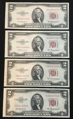 4 Sequential Serial Numbers US $2 Red Seal Notes Series 1953 A