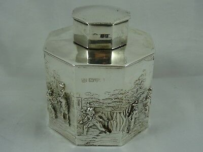 STUNNING solid silver TEA CADDY, 1901, 159gm - Chester