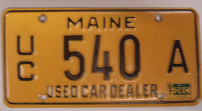 Maine Used Car Dealer License Plate # 540