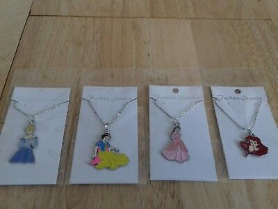 Job Lot 4 NEW NECKLACES DISNEY PRINCESS  CARDED AND BAGGED