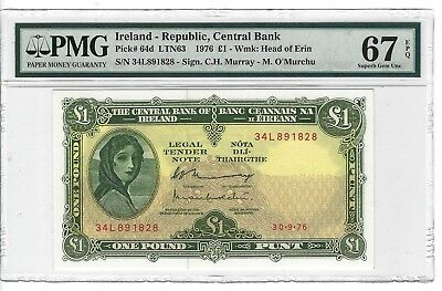 P-64d 1976 1 Pound, Ireland-Republic Central Bank, Lady Lavery PMG 67EPQ SUPERB