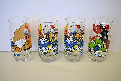 Smurfs Drinking Glasses set of 4 Vintage 1982 1983 Collectible Glass set Hardees