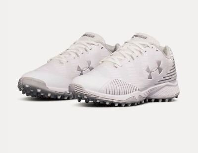 New Under Armour Women's 7 Lacrosse Finisher Turf Lax Shoe Cleat White 1297346