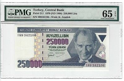 P-211 1970 250,000 Lira, Turkey Central Bank, PMG 65EPQ