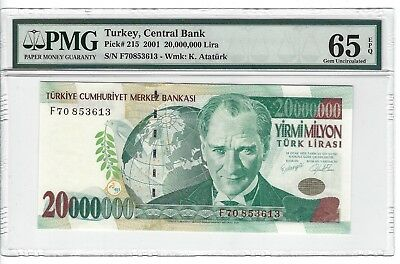 P-215 2001 20,000,000 Lira, Turkey Central Bank, PMG 65EPQ